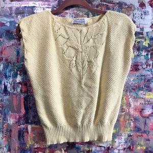Vintage Pale Yellow Knit Cotton Vest S / M Floral